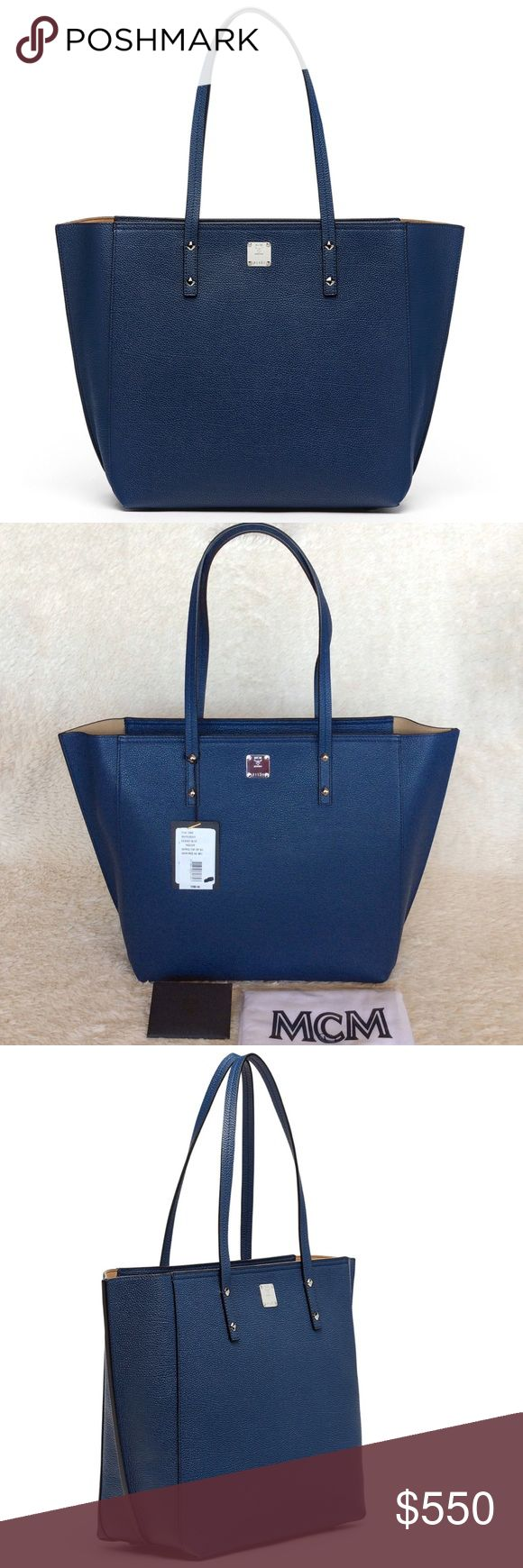 NEW MCM SOPHIE TOP ZIP LEATHER SHOPPER/ NAVY BLUE Authentic. Brand new with tags. This bag has dust bag and the care cards. PLEASE NO TRADE. THE PRICE IS FIRM. The Sophie Collection defines minimalist luxury with soft, lightweight chic leather designs in modern colors. The Medium Shopper features two easy carrying handles and roomy compartment with top zip closure to secure valuables. Shiny silver-tone cobalt hardware throughout. Sophie Top Zip Leather Shopper. Top zip closure to keep items…