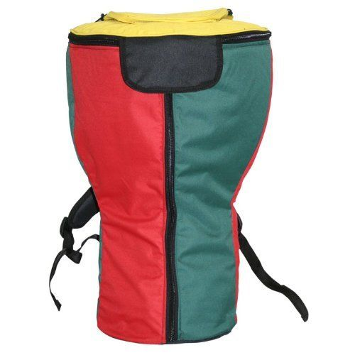 """Tri-Color Padded Djembe Bag, 3 Zippers & Water Resistant - XL by X8-Drums. $89.99. Tri-color durable padded djembe backpack made of water resistant material and features double adjustable shoulder straps. This has been rated as our best quality djembe bag. 3 zippers, super thick padding, extra fat bottom, shoulder and waist strap. BAG SIZE: XL, 24"""" tall and 15"""" top diameter (typically fits djembes with 11""""-12"""" heads)This heavy-duty djembe bag is also made from d..."""
