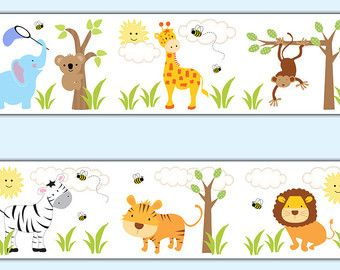 JUNGLE SAFARI DECAL Animal Alphabet Wallpaper by decampstudios