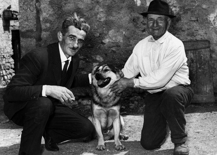 Norcia, anni 50. Anziani contadini in posa con un cane incrociato con un pastore tedesco. Uno di loro ha il vestito buono forse per andare ad un matrimonio.