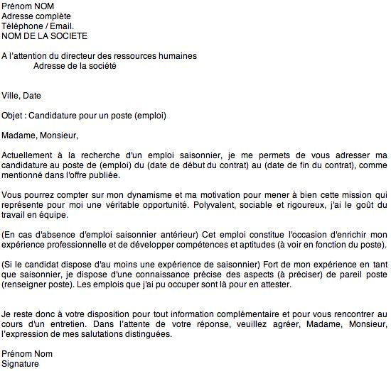 lettre motivation et cv papier ou mail
