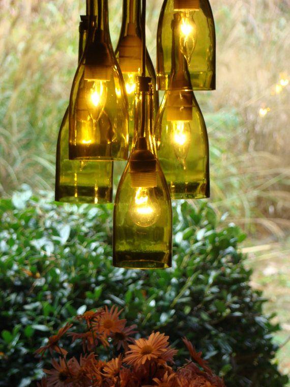 Wine Bottle Chandelier by glow828 on Etsy, $210.00