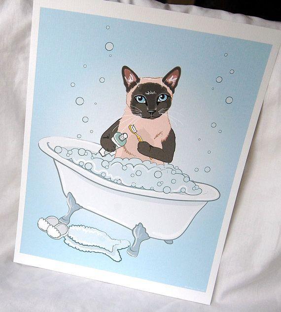 Scrub-a-dub-dub met deze schattige kleine siamese kat print! 8 x 10 afdruk van mijn oorspronkelijke illustratie. Mooie achtergrond in een rustgevende blauwe schaduw, met fijne belletjes beetje rondzweven. Zoete siamese zit in een grote badkuip vol met bubbels, een gele tandenborstel in één poot en een tube tandpasta in de andere. Een fuzzy vis-vormige bathmat en slippers wachten hem na zijn bad. Een geweldige manier om eraan te herinneren de kiddos hun tanden te poetsen! Gedrukt op luxe…
