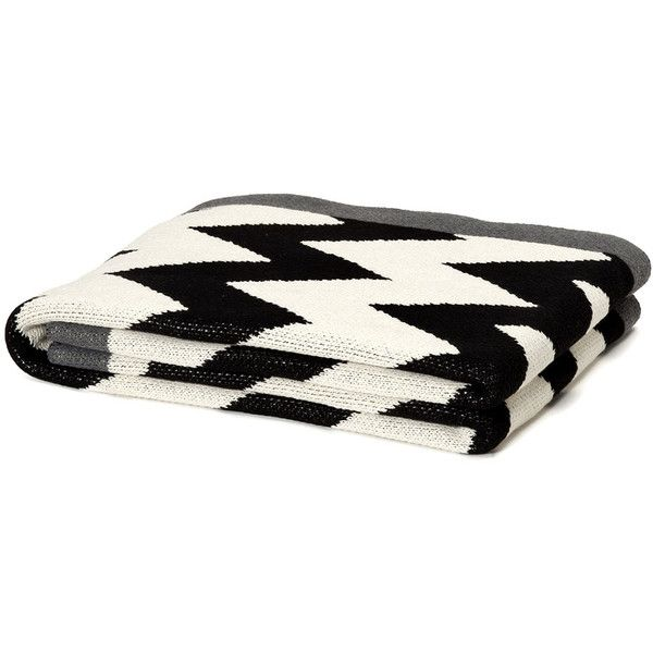 In 2 Green ZigZag Chevron Throw - Black/Milk/Smoke (10,000 DOP) ❤ liked on Polyvore featuring home, bed & bath, bedding, blankets, house, interior design, knit throw, knit throw blanket, chevron blanket and black chevron bedding
