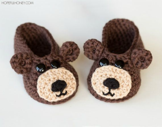 CROCHET patrones  osito bebé botines por HopefulHoneyDesigns