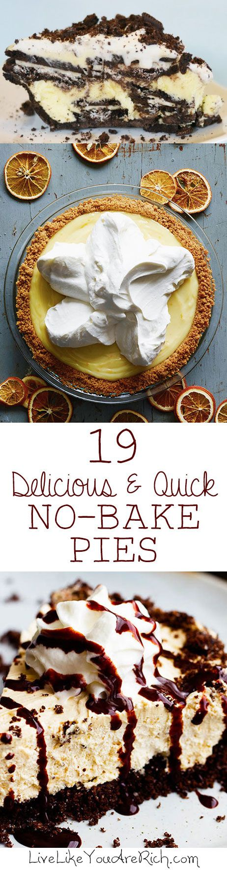 No-bake pies are so easy and quick (especially if you buy pre-made crusts). They can be thrown together in just a few minutes of prep and a few hours of chilling. They are a great idea for contributing to a party, potluck, or dinner. #LiveLikeYouAreRich