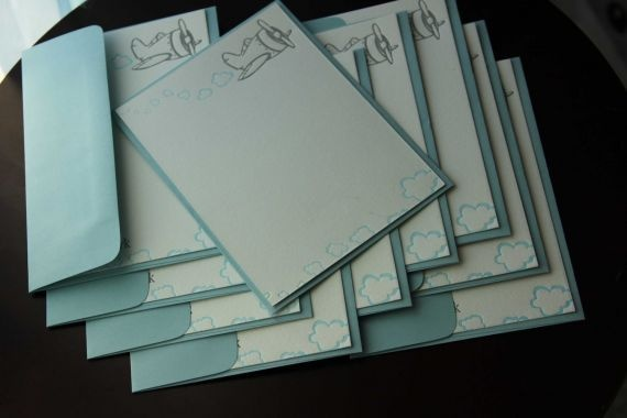 Lovely airplane letterpress flat cards: Letterpress Flat, Airplane Letterpress, Airplane Party, Lovely Airplane