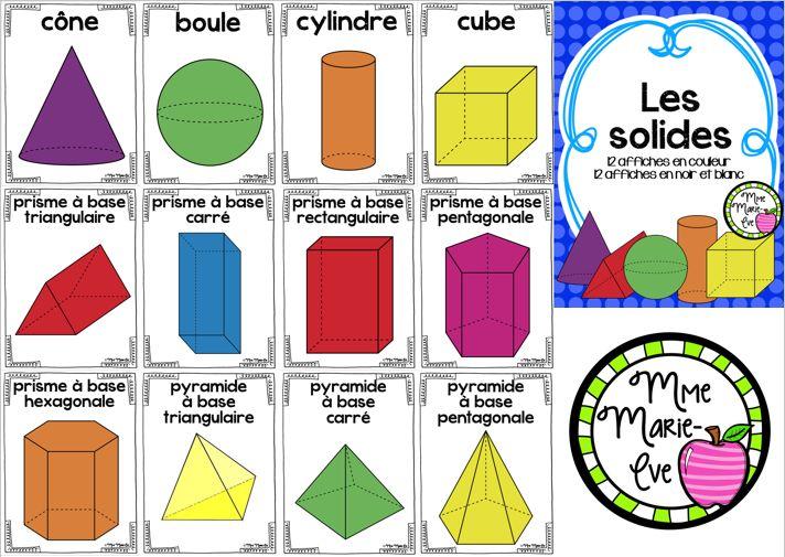 Voici un ensemble de 12 affiches couleurs et de 12 affiches en noir et blanc sur les solides comprenant le cône, la boule, le cylindre, le cube, le prisme à base triangulaire, le prisme à base carré, le prisme à base rectangulaire, le prisme à base pentagonale, le prisme à base hexagonale, la pyramide à base triangulaire, la pyramide à base carré et la pyramide à base pentagonale.