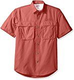 IZOD Mens Saltwater Easy Care Fishing Short Sleeve Shirt Saltwater Red Medium