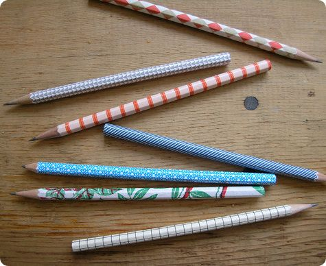 "Make a pencil set to give as a gift. Cut paper that is 1"" by the length of the pencil. Modgepodge the underside of the paper and wrap. Once it is dry, sharpen.:"