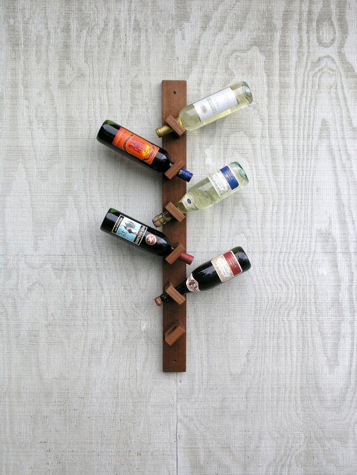 Id e cadeau range bouteille vin bois africain Hanging wooden wine rack