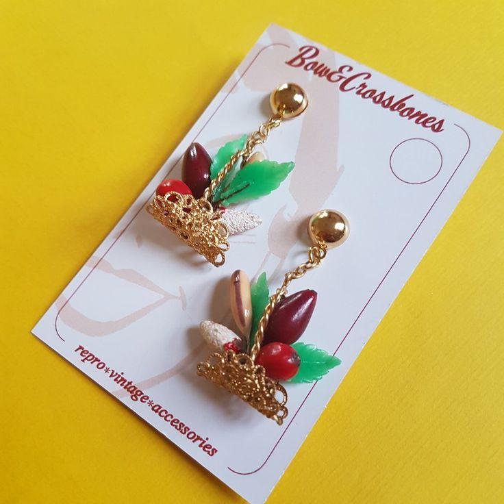 Fruit basket drop earrings