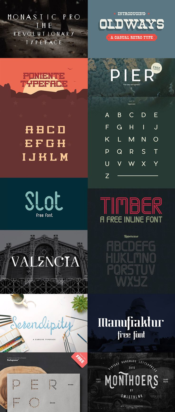 A latest collection of best free fonts. This collection includes some of the best web design fonts and display fonts suitable for logo, poster, branding, packaging and t-shirt design.