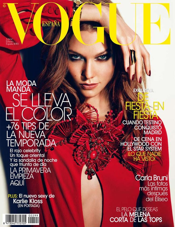 Red Hot Girl – Leading model Karlie Kloss enchants on the February 2013 cover of Vogue Spain, wearing a red dress from Gucci's spring collection. Photographed by Alexi Lubomirski and styled by Belén Antolín, Karlie gives a seductive gaze for the new issue.