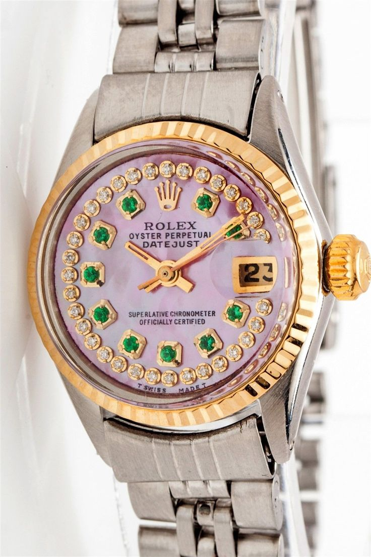 #Forsale 7000 Pink Mop Emerald Diamond 18k Gold Ss Genuine #Rolex Datejust Ladies Watch #Auction @$1,475.00