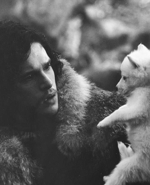 Jon Snow with Ghost, the dire wolf pup. ...And *that* was the precise moment I knew I was going to love this guy. And that dire wolf.