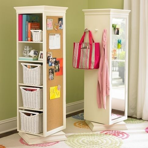 Buy a cheap bookcase and attach onto a lazy susan. Attach mirror on back side, cork board on one side and hanger hooks on the other! Good for limited space.