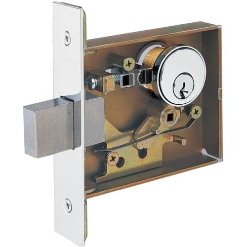 Schlage L9464 L-Series Commercial Grade 1 Single Cylinder One Sided Keyed Entry Mortise Lock Deadbolt, Silver stainless steel