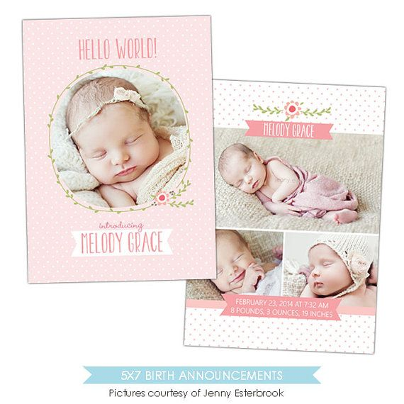 Birth announcement template   Flower kisses   E897 by birdesign, $8.00