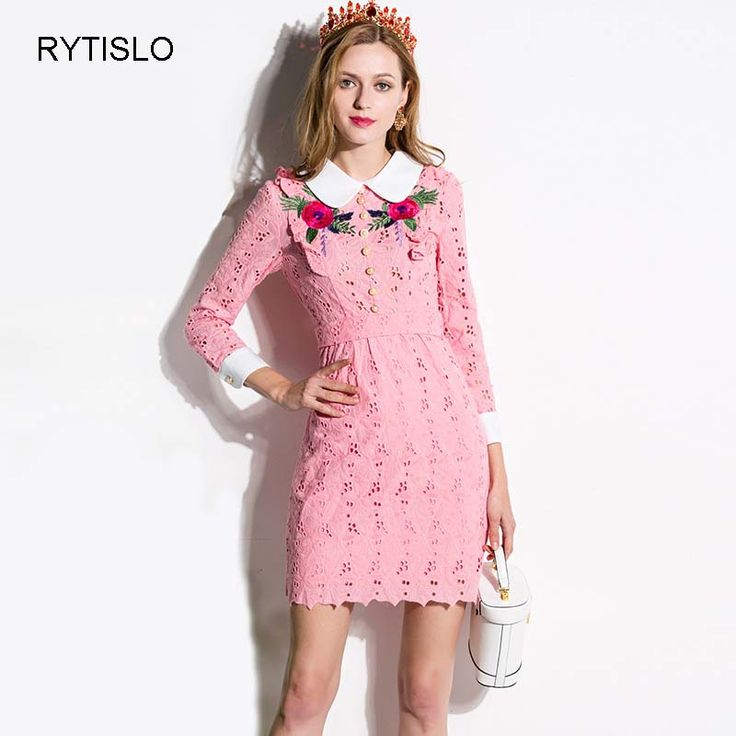 ==> [Free Shipping] Buy Best RYTISLO Vintage Spring New Fashion Women Dresses Pink Blue Peter Pan Collar Embroidery Lace Cute Ladies Vestido Top Quality Online with LOWEST Price | 32804982348