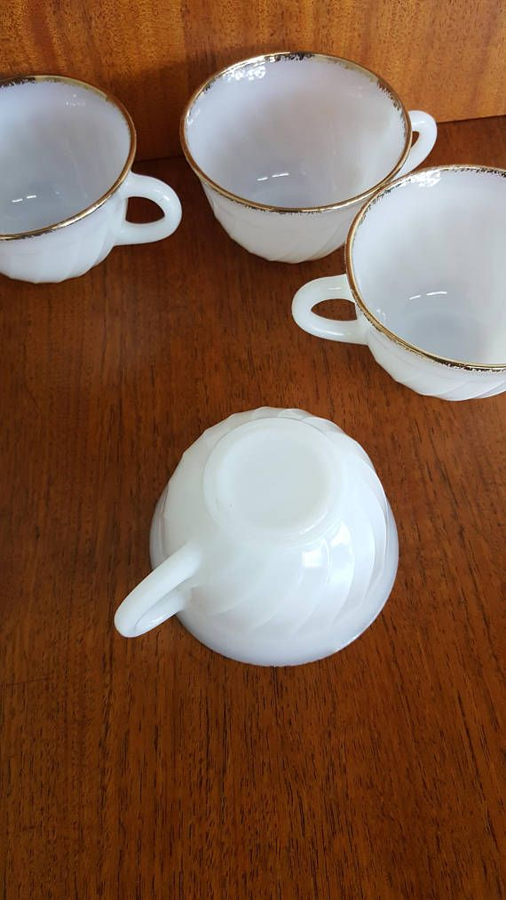 Fire King USA Anchor Hocking Swirl Milk Glass With Handles Set Of 4