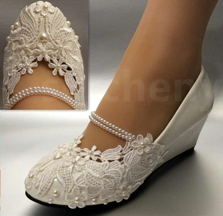 White light ivory lace Wedding shoes flat low high heel wedges bridal size 5-12 | Clothing, Shoes & Accessories, Wedding & Formal Occasion, Bridal Shoes | eBay! #weddingshoes