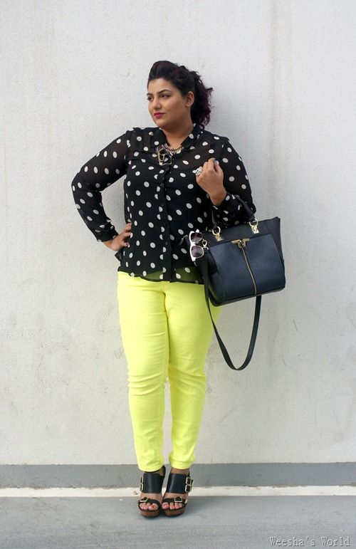 Forever 21 plus neon skinny jeans, Forever 21 sunglasses, h & m polka dot sheer blouse, River Island Multi Buckle Strapped wedges, New Look holographic necklace, Danielle Nicole Alexa tote