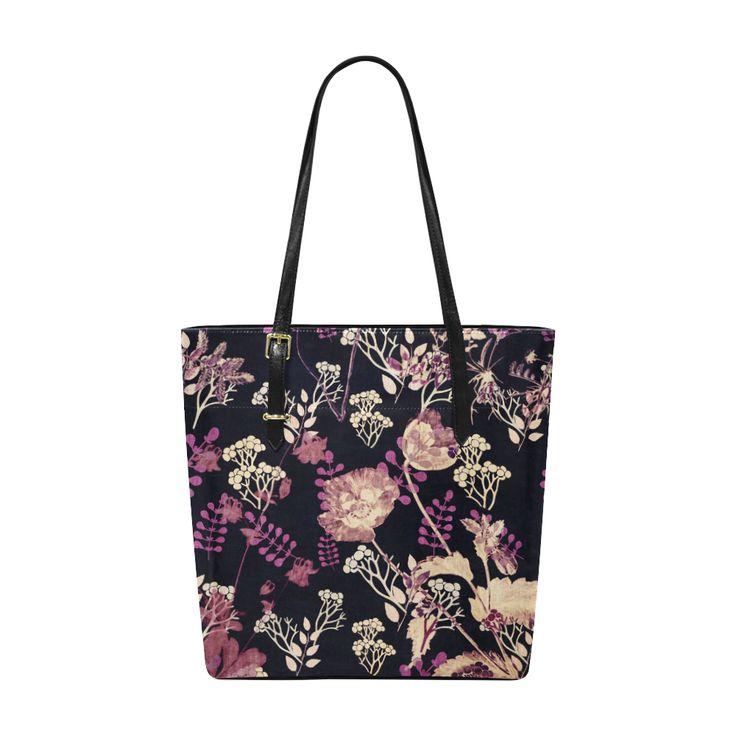 Anne,flowers,floral,black,pink, Euramerican Tote Bag/Small (Model 1655)