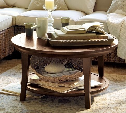 """Metropolitan"" Round Coffee Table by Pottery Barn, 34"" diameter"
