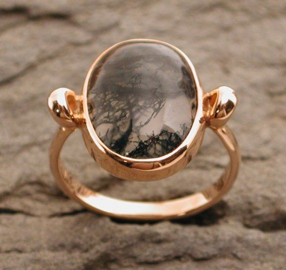 Mystical moss agate ring 14k rose pink gold jewelry $750.00