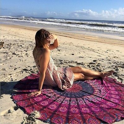 Yoga Bohemian Colorful Mandala Round Beach Blanket