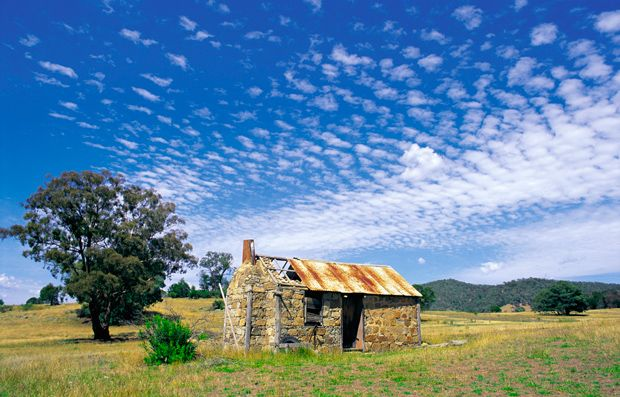 High country huts - Australian Geographic. Stone ruins of Numbla Vale Hut, near Dalgety in the Snowy Mountains.  Photo Credit: Ross Dunstan