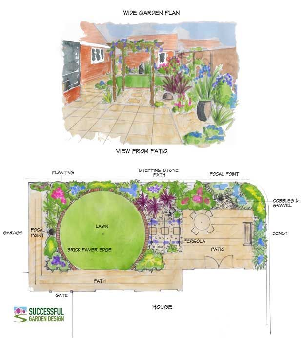 wide garden design with circular lawn - Garden Design Layouts