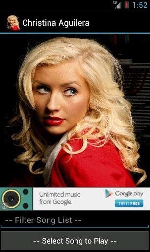 Watch a collection of Christina Aguilera's YouTube music videos from your Android phone! Feel free to recommend videos to add, and don't forget to rate!<p>Songs include:<p>Ain't No Other Man<br>All I Need<br>Army Of Me<br>At Last<br>Beautiful<br>Candyman<br>Come On Over<br>Feel This Moment (ft. Christina Aguilera)<br>Fighter<br>Genie In A Bottle<br>Hurt<br>I Turn To You<br>Impossible (ft. Alicia Keys)<br>Lady Marmalade (ft. Lil Kim<br>Say Something (ft. Christina Aguilera)<br>Something's Got…
