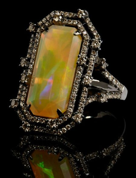 usa jerseys basketball Annoushka Ethiopian opal ring with a 6 95 carat opal set in white gold and black rhodium with 1 33 carats of champagne diamonds