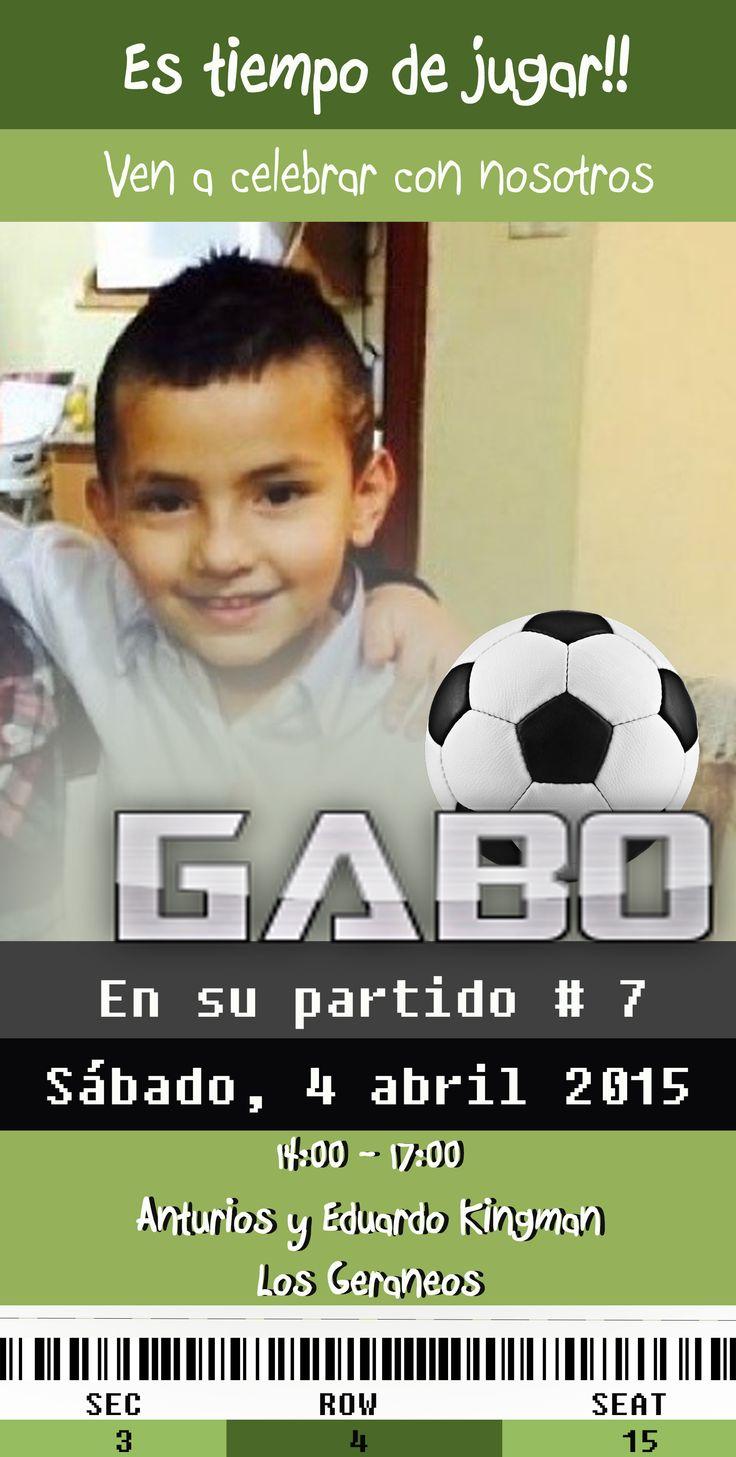 Tarjeta de invitación con motivo de fútbol soccer Para contratos: 0983140793 // 098440768 //0993656123