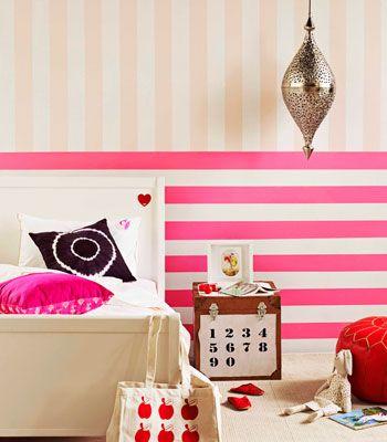 stripes: Bathroom Design, Stripes Wall, Pink Stripes, Bedrooms Design, Bathroom Interiors Design, Pink Bedrooms, Bedrooms Decor, Girls Rooms, Kids Rooms