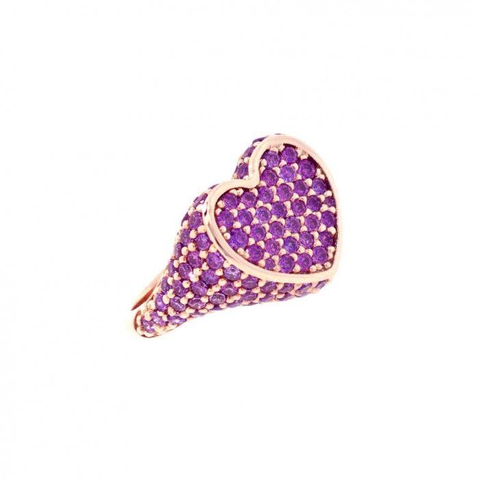 Stupendo anello da mignolo argento cuore zirconia viola #swarovski #anelli #bloobloodmilano #anellodamignolo #chevalier #regalodinatale #regalo #regalospeciale