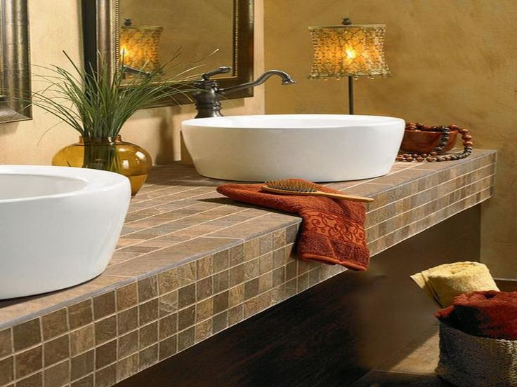 Superb Bathroom Vanity Countertops Ideas Part - 11: Tiled Bathroom Countertops