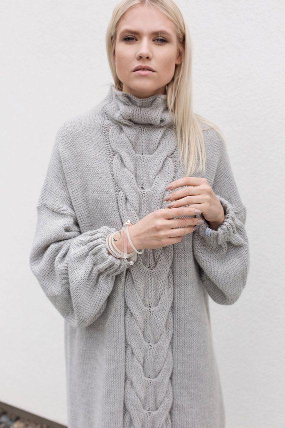 Light grey handmade Plaited winter dress by ATUKO on Etsy