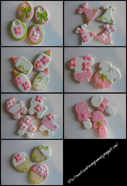 Baby Shower Cookies - uses egg cookie cutter to make bibs.