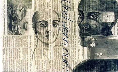 Adrian Piper, Vanilla Nightmare#13, 1986, Kohlezeichnung auf Zeitungspapier  Courtesy Adrian Piper und Paula Cooper Gallery, New York