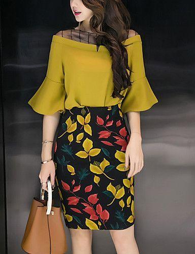 Mujer Sensual Chic de Calle Trabajo Verano Blusa Falda Trajes,Escote Redondo Estampado Media Manga Malla Separado Gasa Retazos
