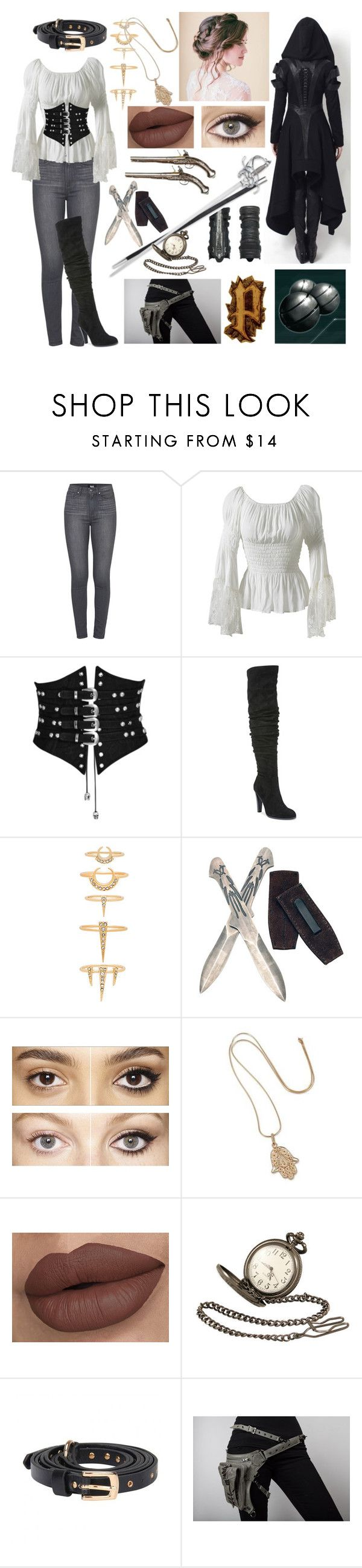 """Assassin's Creed Female Costume #2"" by e-sekovanikj ❤ liked on Polyvore featuring Paige Denim, Carlos by Carlos Santana, Luv Aj, Charlotte Tilbury, NOVICA, S.W.O.R.D., Black Pearl and Holster"