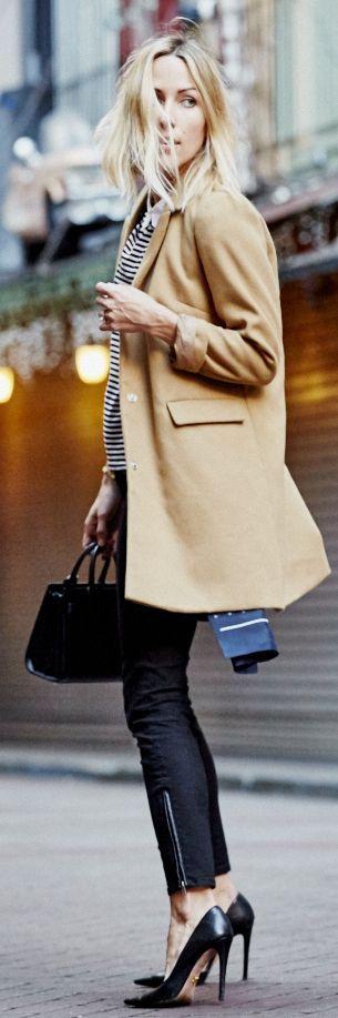 Camel Coat & Black Zip, Skinny Jeans.