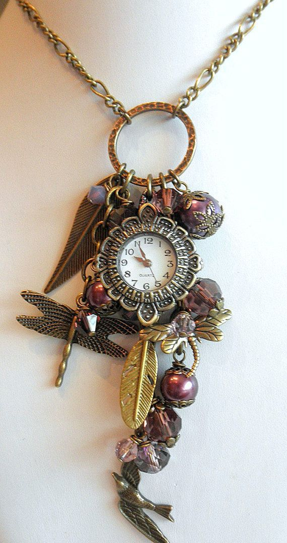 Bohemian Gypsy Necklace Romantic Watch Charm by