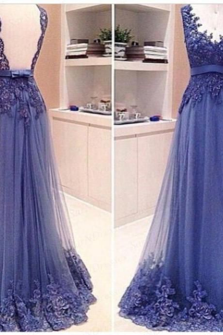 Backless Prom Dresses,Blue Prom Dress,Backless Formal Gown,Open Back Prom Dresses,Open Backs Evening Gowns,Lace Formal Gown For Teens