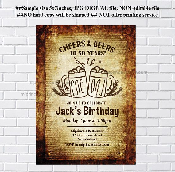 Beer Birthday Invitation Party Invitation Cheers And Beers For