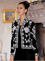 Silver Screen Beaded Jacket | DrapersLavished with opulence, this Mandarin collar jacket features elaborate floral art in iridescent seed beads and micro sequins. The art can also be seen at the back