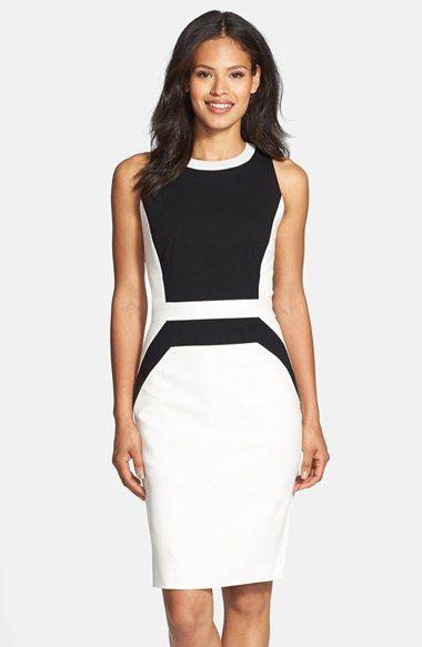 Classiques Entier® Italian Ponte Colorblock Dress   Nordstrom